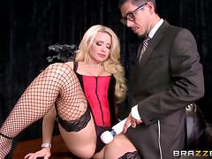 Gorgeous busty blonde in fishnet stockings gets pounded hard