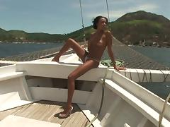On a boat with a skinny Brazilian he fucks in the ass
