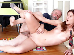 TrickyOldTeacher - Old teacher fucks his sexy College student right in the classroom tube porn video