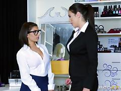 Hardcore lesbian brunettes with big tits dildo each other