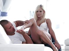 Foot loving blonde uses her talented feet to make him cum porn tube video