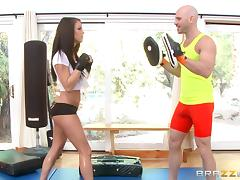 She takes boxing lessons and enjoys her trainer's cock porn tube video