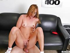 Blonde hottie rides a stiff dick