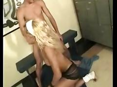 Curly blonde gets slammed by horny guy tube porn video