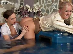 Luscious blonde and her brunette friend in the hottest lesbian action