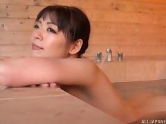 Hot Japanese girl triple teamed by three fat guys in a hot tub tube porn video