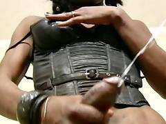 Black leather lingerie looks amazing on the black tranny tube porn video