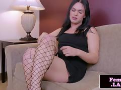 Fresh trap jerking while in stockings