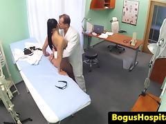 Beautiful nurse fucked on desk by doctor