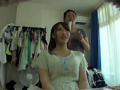 Hidden camera catches two Japanese girls share a monster cock