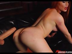 Gorgeous slender redhead fucked hard by a gigantic dick porn tube video