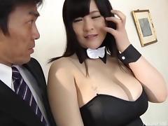 Big saggy Japanese titties give a beautiful dildo titjob