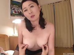 Wet Asian milf pussy sits on his dick so she can ride porn tube video