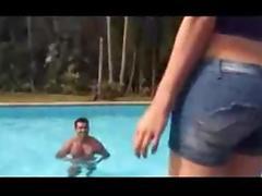 Lustful Ladyboy Screwing Guy By The Pool