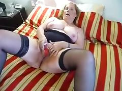 Horny Chubby Mature orgasms from toy porn tube video