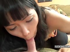 Horny Asian housewife Yuka Ozaki is blowing a lucky geek