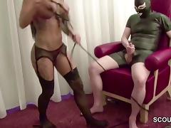 German Hot Teen Femdom Fuck older Man in Latex tube porn video