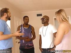 Small titted blonde Melissa May having fun with black dudes porn tube video