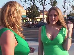 Ladies in green enjoy a thrilling honey sucking