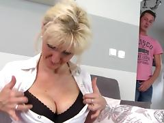 Super mom with big saggy tits takes young cock tube porn video