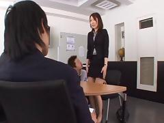 Very caring Asian secretary fucking all her co-workers