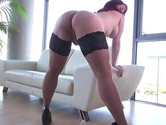 A Sexy Redhead in Stockings porn tube video