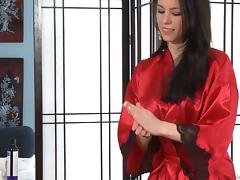 Sensual Veronica Radke gives a sexy massage in satin