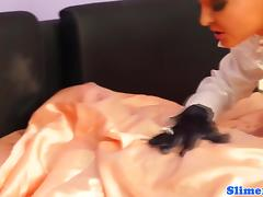 Bonded les creampied while straponfucked tube porn video