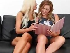 Lezzie threesome on the couch porn tube video
