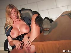 Classy Brooke Banner rubs her hot pussy