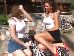 Lesbian Milfs fucking outside tube porn video