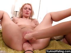 Try Anal Fisting - Lesbo ass-fisting on a coffee table porn tube video