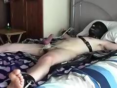 restrained slave gets CBT & TT