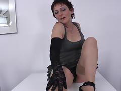 Lace top stockings mommy masturbating erotically