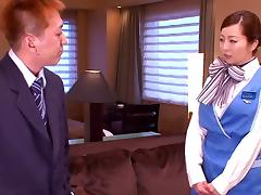 Superbly beautiful cabin attendant with nice ass gags on a shlong porn tube video