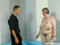 Fat short-haired babe sucks the dick and gets banged with passion