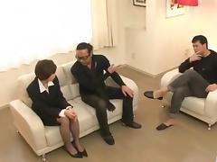Office threesome along Akina Hara porn tube video