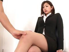 Aggressive fucking of a Japanese beauty in pantyhose and a skirt porn tube video