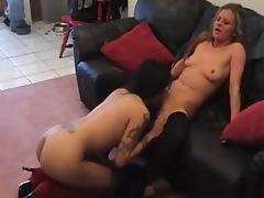 Interracial amateur lesbian pussy toying