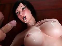 3D swimsuit futanari hot fucked on the gym ball porn tube video