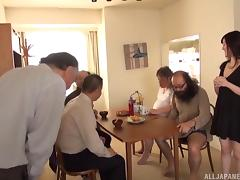 Dirty old men lick and finger a Japanese cutie after breakfast porn tube video