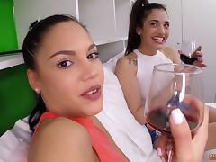 In the condo for flirty dick sucking and lesbian group fun
