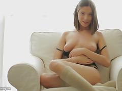 She screams with pleasure as she fucks her ass with a glass dildo porn tube video