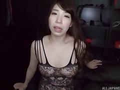 Thrilling Asian babe in fishnet lingerie shows off her sucking skills porn tube video
