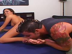 Glamorous brunette Naudia sucks and rides like a professional porn tube video