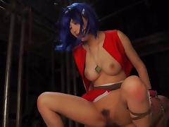 Cosplaying Asian girl punished and fucked in a BDSM dungeon