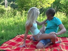 Teen blonde is all over her boyfriend for hot fun outdoors tube porn video