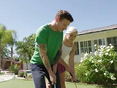 On the golf course he puts the shaft in her hole on the green porn tube video