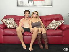 Chesty cougar hooks up with a younger guy on her webcam porn tube video