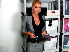 Office, Big Tits, Blonde, Boss, European, Lingerie